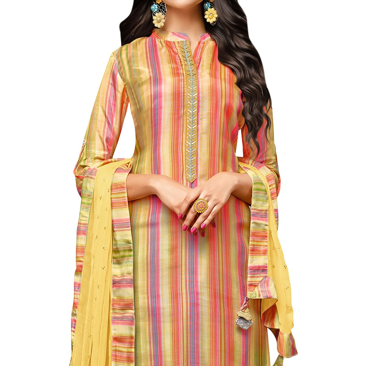 Gorgeous Multi Colored Party Wear Cotton Silk Salwar Suit