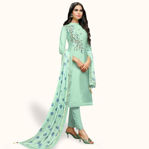 Blissful Mint Green Colored Party Wear Cotton Silk Salwar Suit