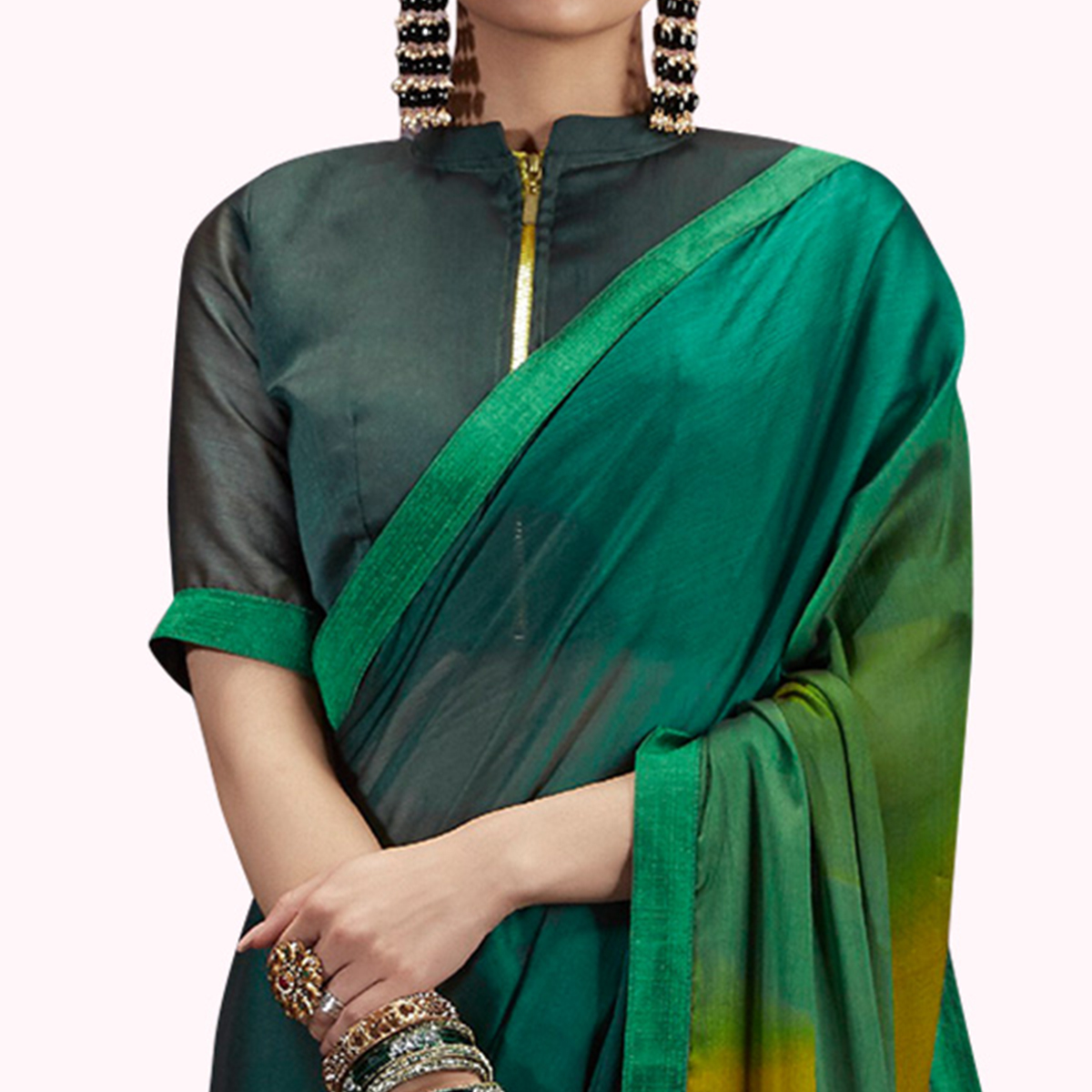 Elegant Dark Green Colored Casual Printed Chiffon Saree