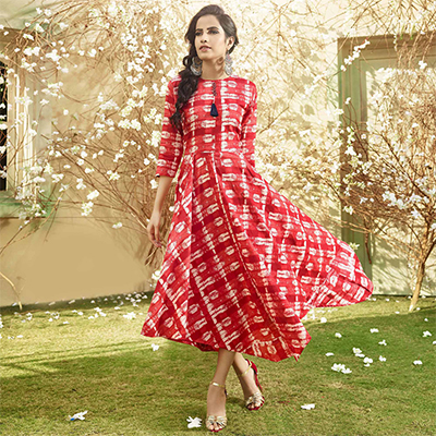 Stylish Red Printed Designer Cotton Kurti