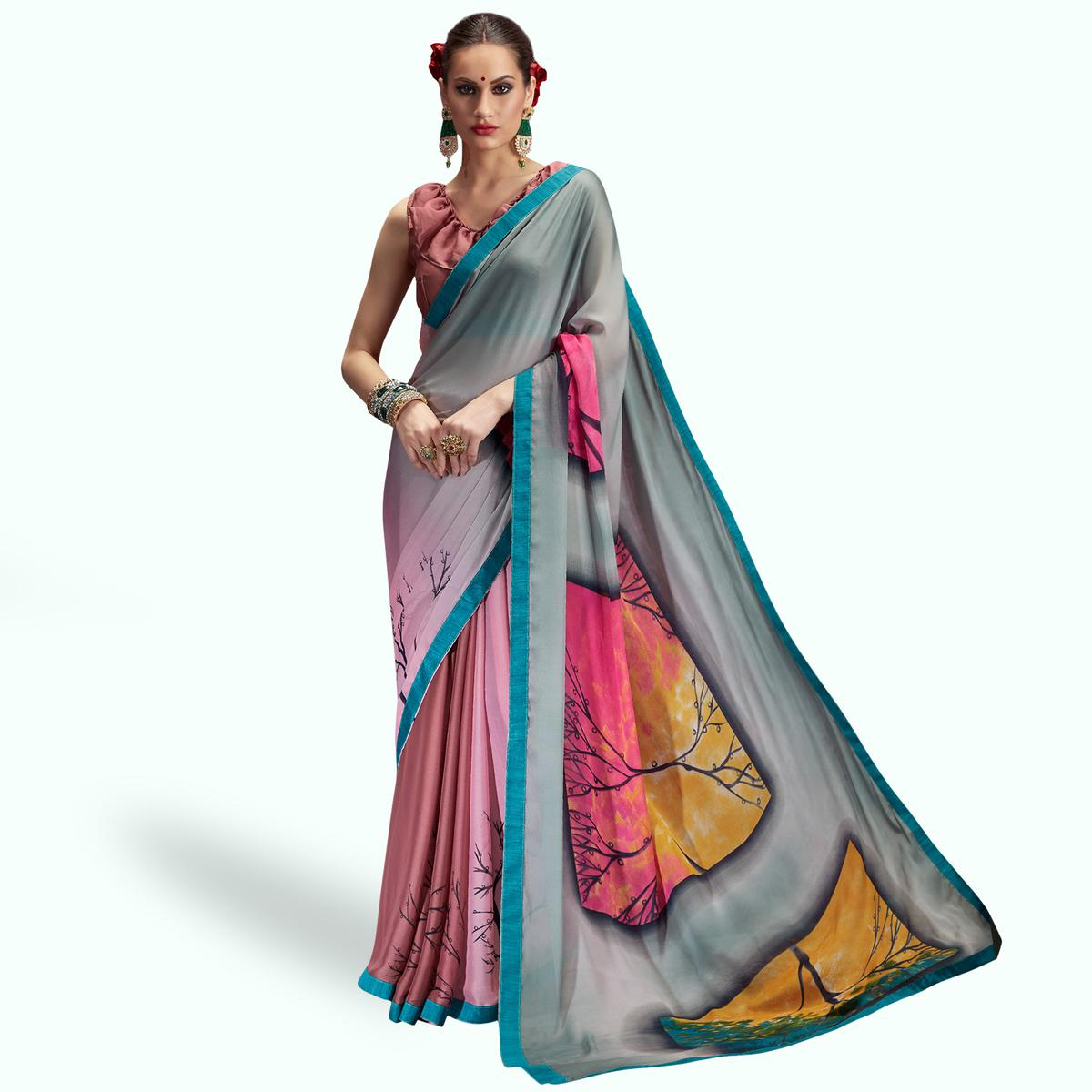 Exceptional Gray-Pink Colored Casual Printed Chiffon Saree