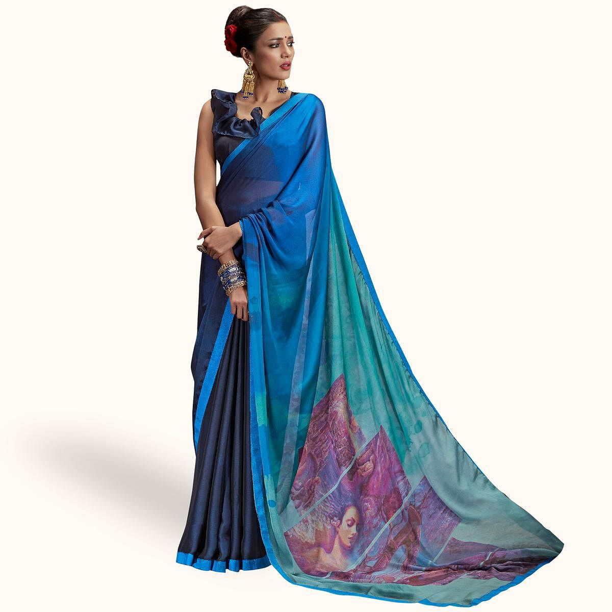 Demanding Navy Blue Colored Casual Printed Chiffon Saree