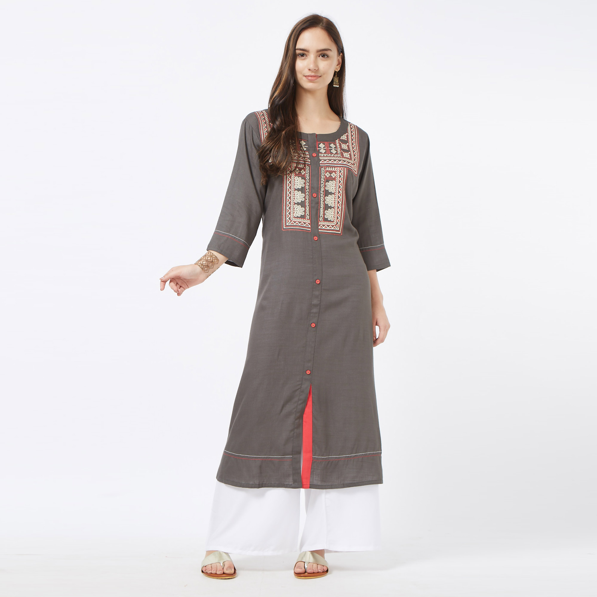 Pleasant Dark Gray Colored Partywear Embroidered Liva Cotton Long Kurti
