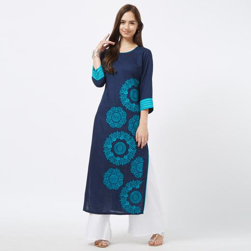 Energetic Navy Blue Colored Partywear Embroidered Liva Cotton Long Kurti