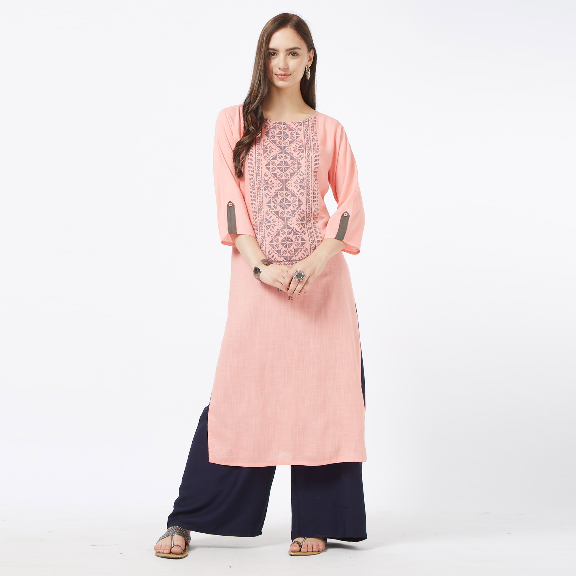 Glowing Pink Colored Partywear Embroidered Liva Cotton Long Kurti