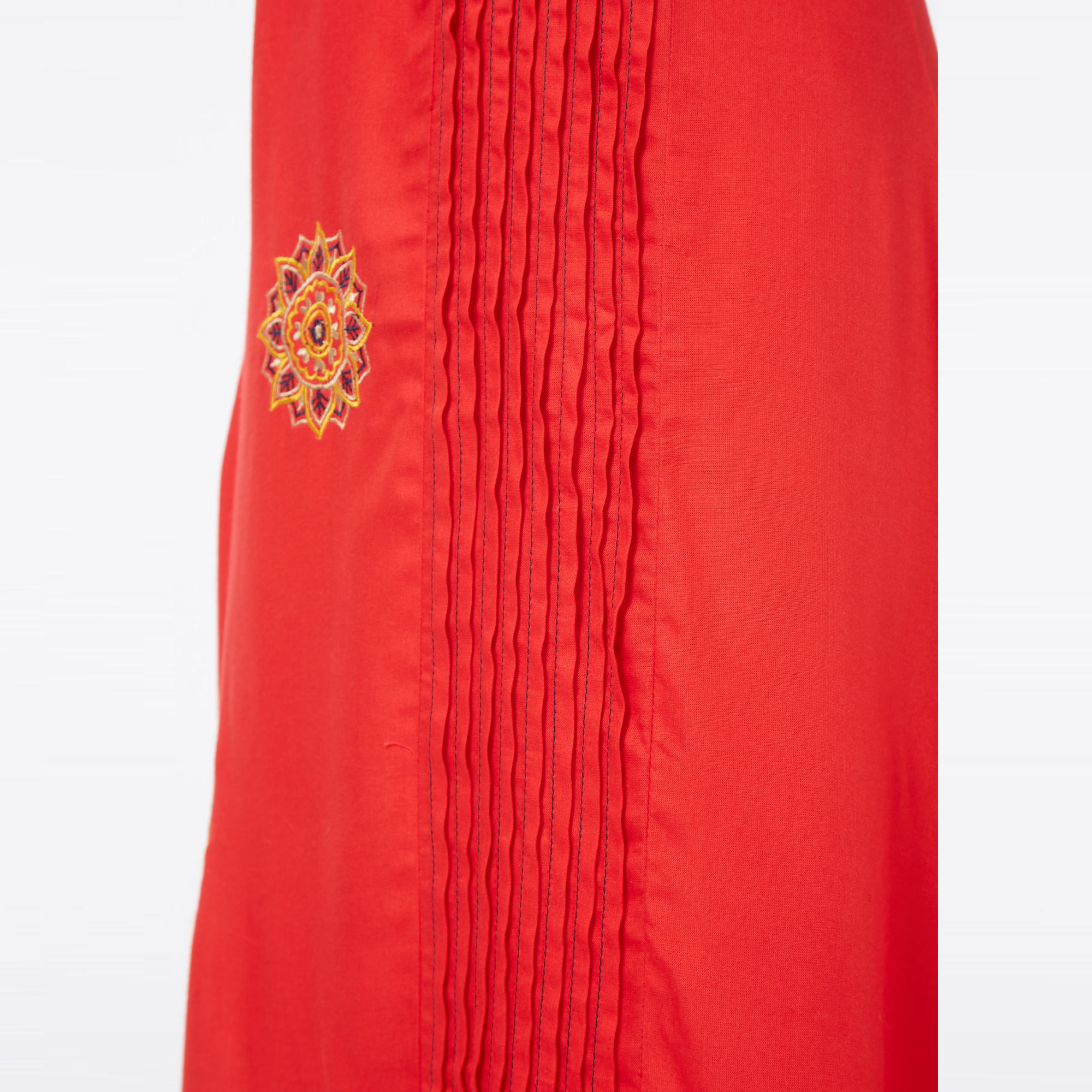 Exceptional Red Colored Partywear Embroidered Liva Cotton Long Kurti
