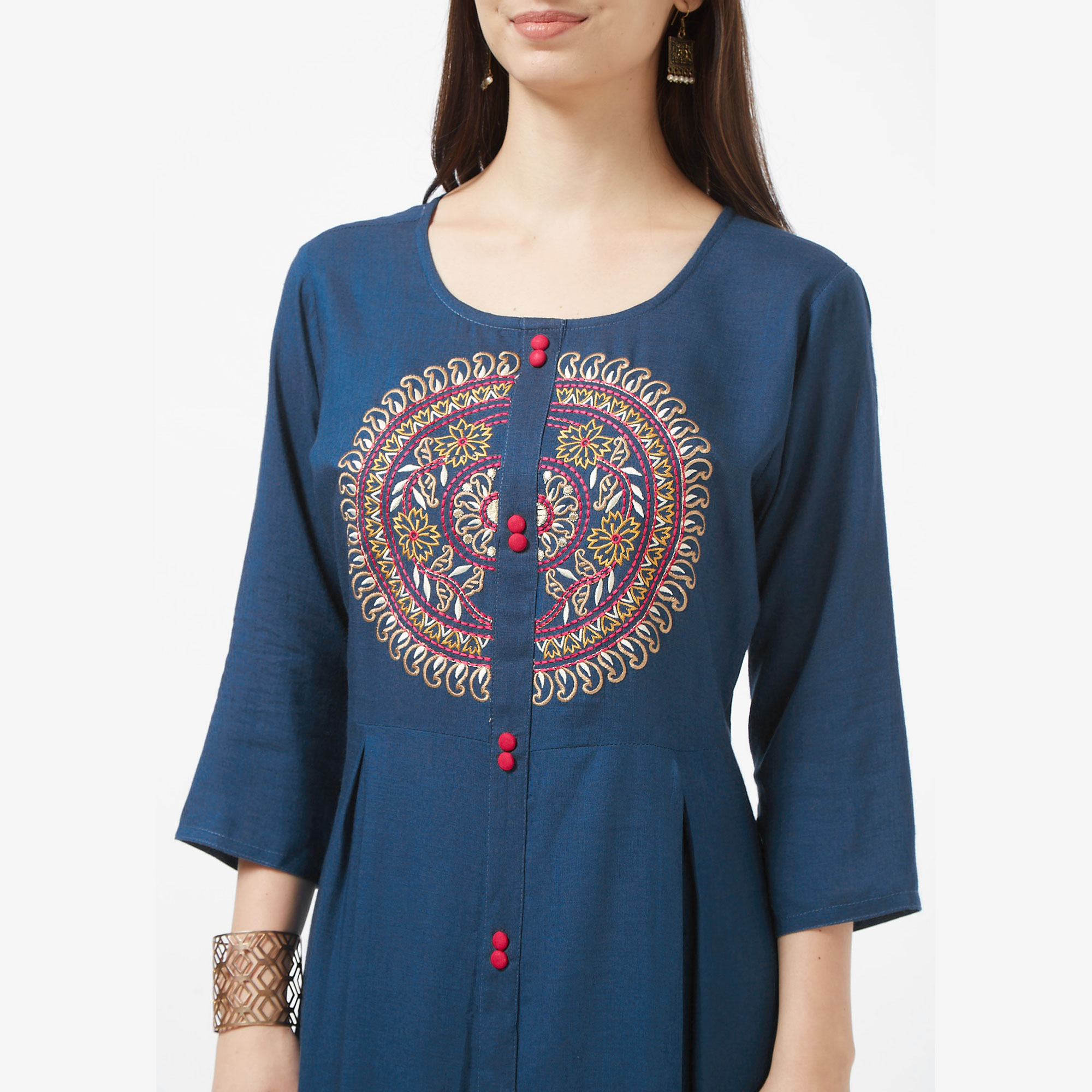 Gleaming Teal Blue Colored Partywear Embroidered Liva Cotton Long Kurti