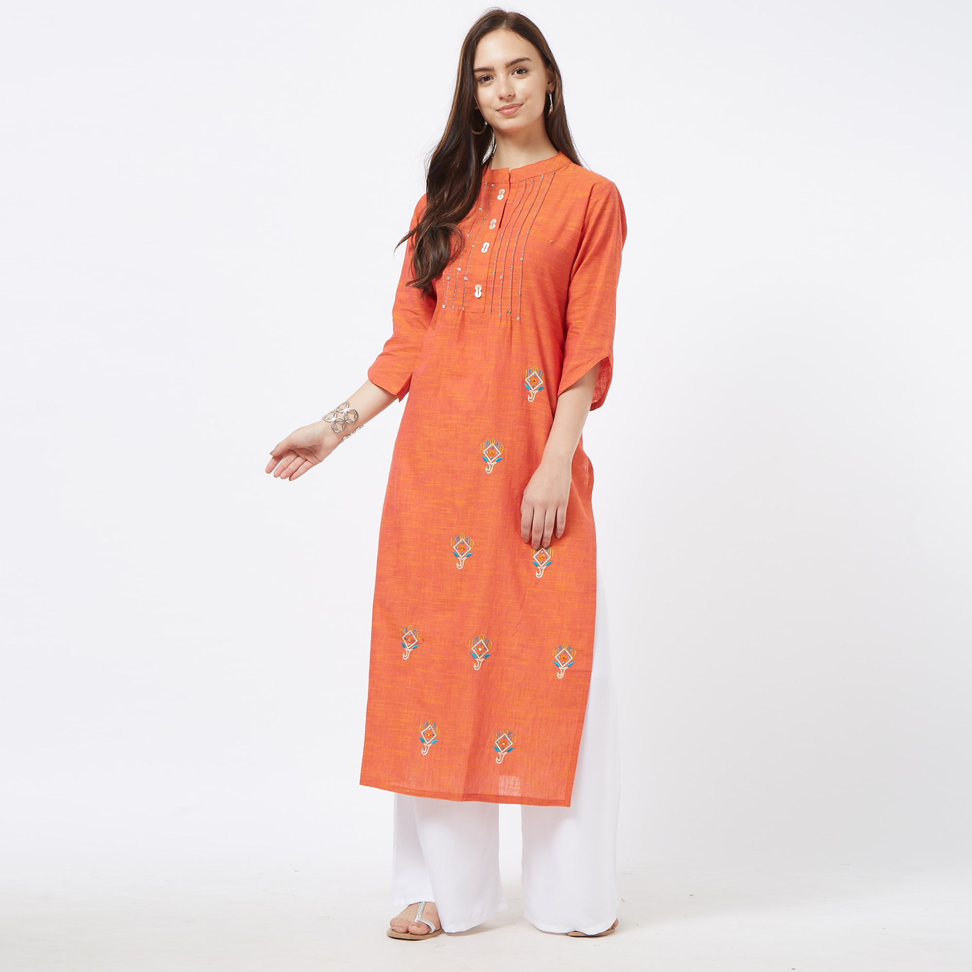 Mesmeric Orange Colored Partywear Embroidered Cotton Long Kurti