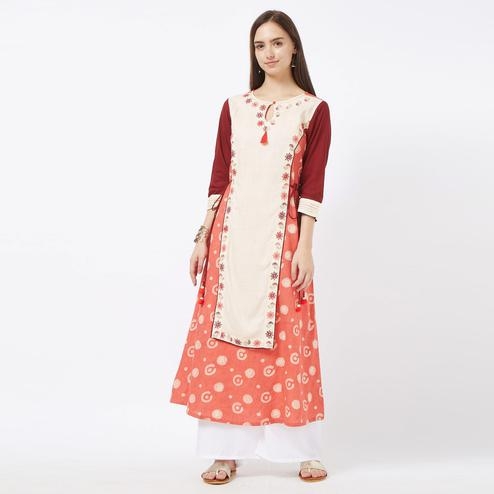 Unique Red Colored Partywear Embroidered Cotton Long Kurti