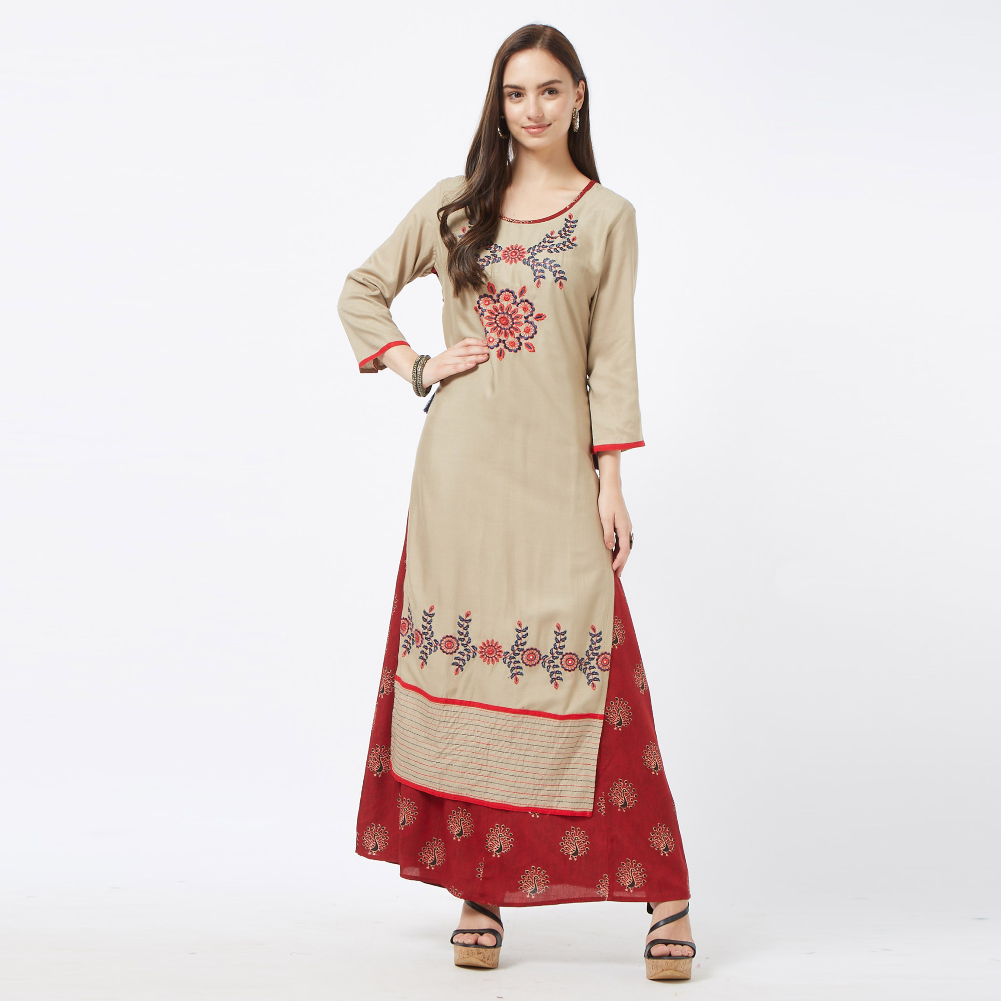 Demanding Khaki-Maroon Colored Partywear Embroidered Cotton Long Kurti