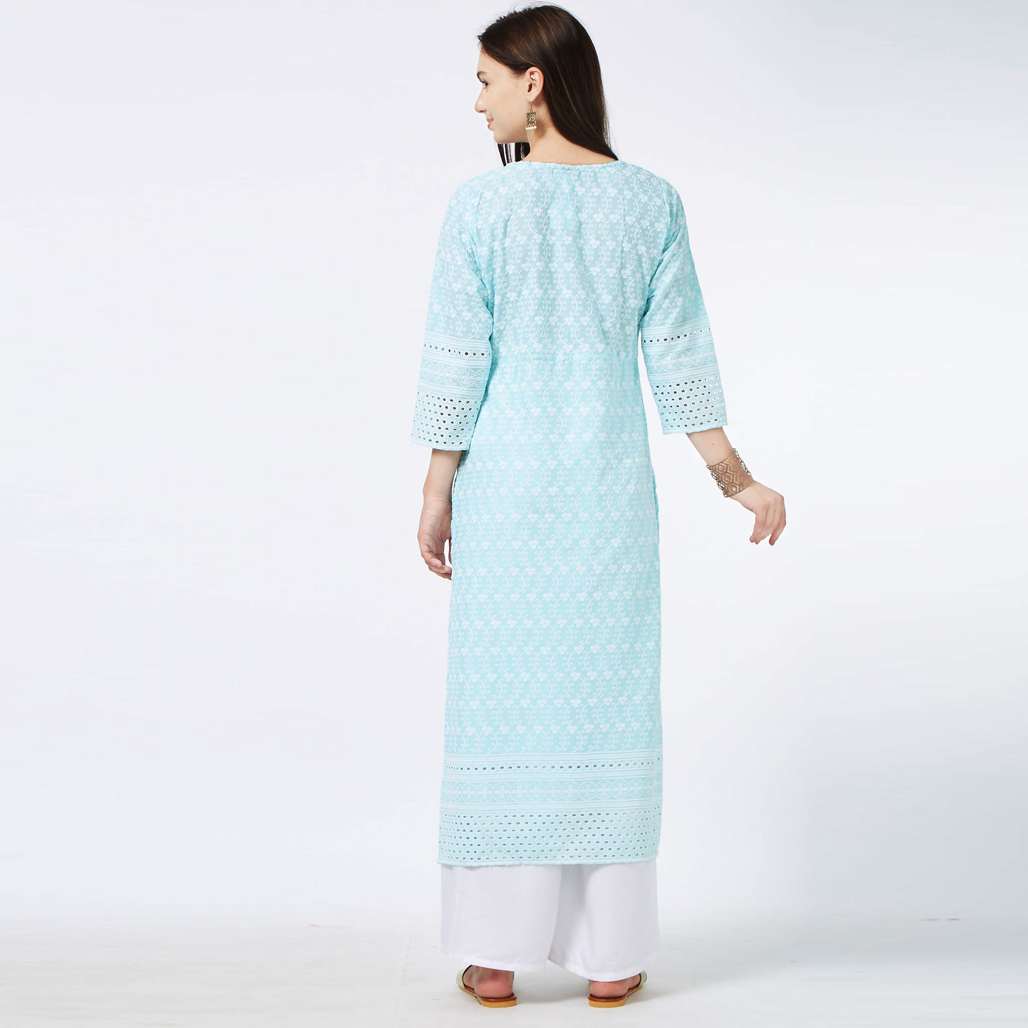 Refreshing Aqua Blue Colored Partywear Embroidered Cotton Long Kurti