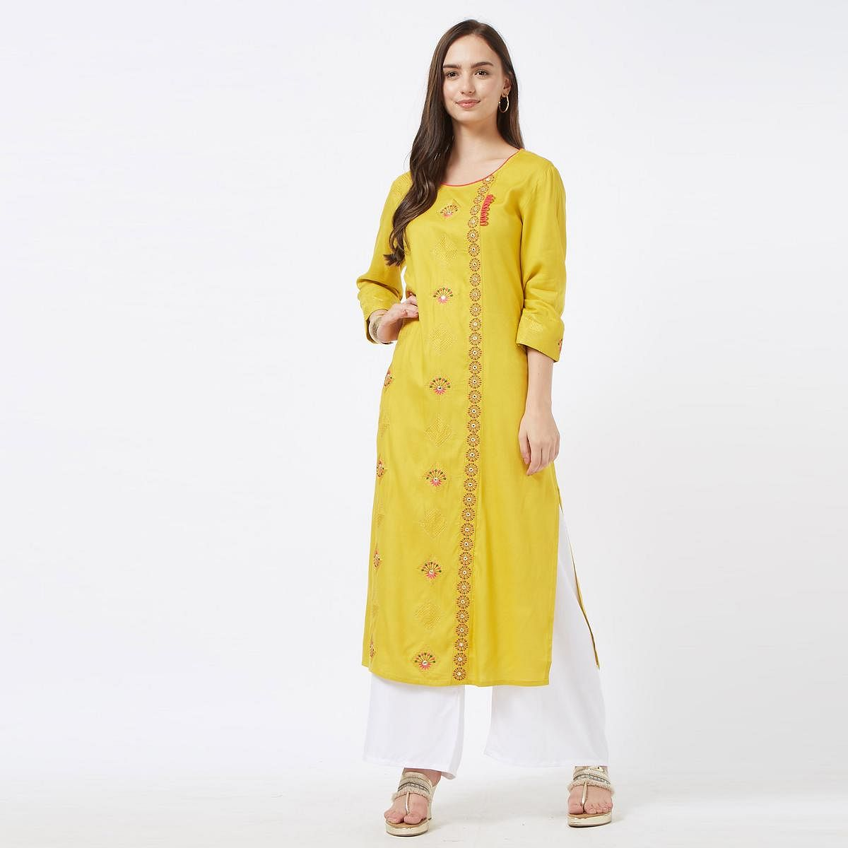 Magnetic Yellow Colored Partywear Embroidered Cotton Long Kurti