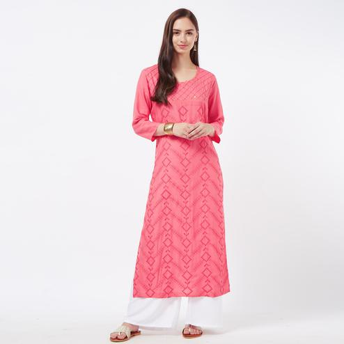 Hypnotic Pink Colored Partywear Embroidered Cotton Long Kurti
