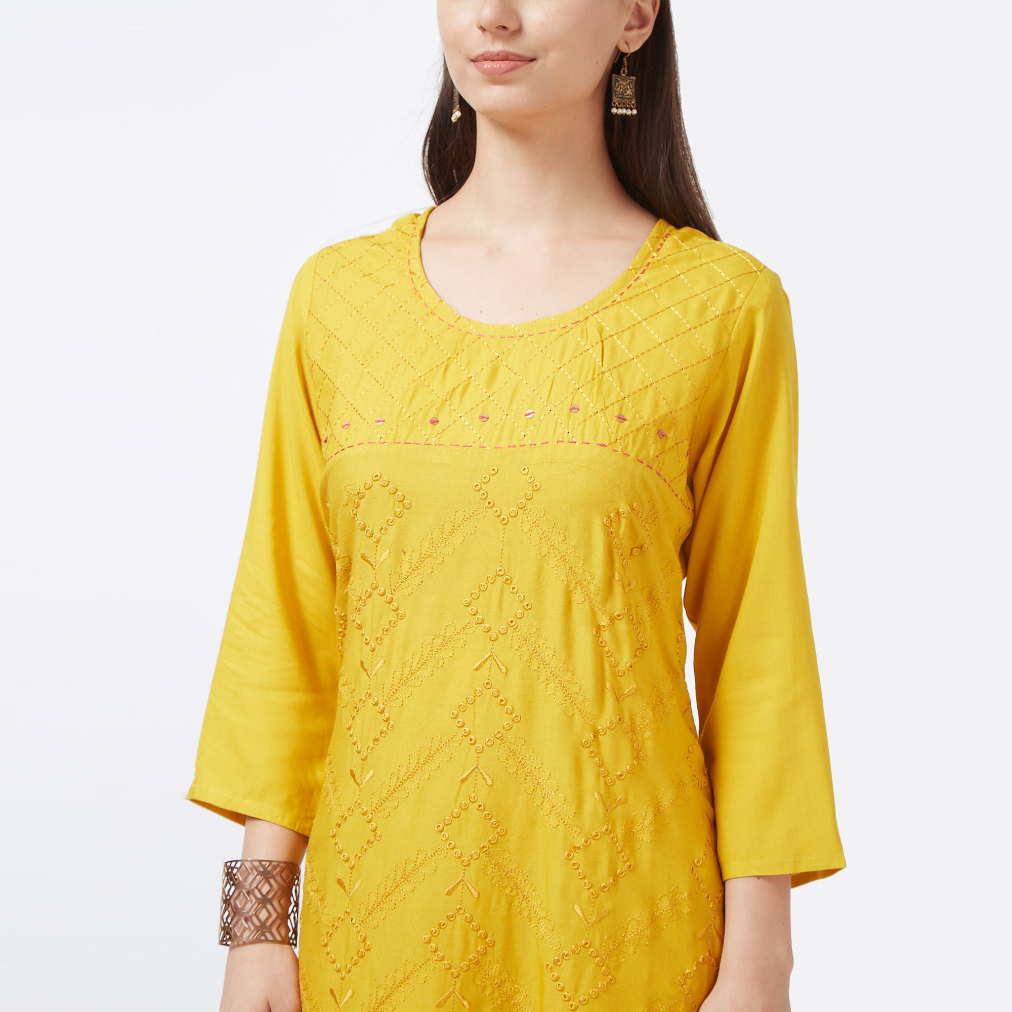 Flattering Yellow Colored Partywear Embroidered Cotton Long Kurti