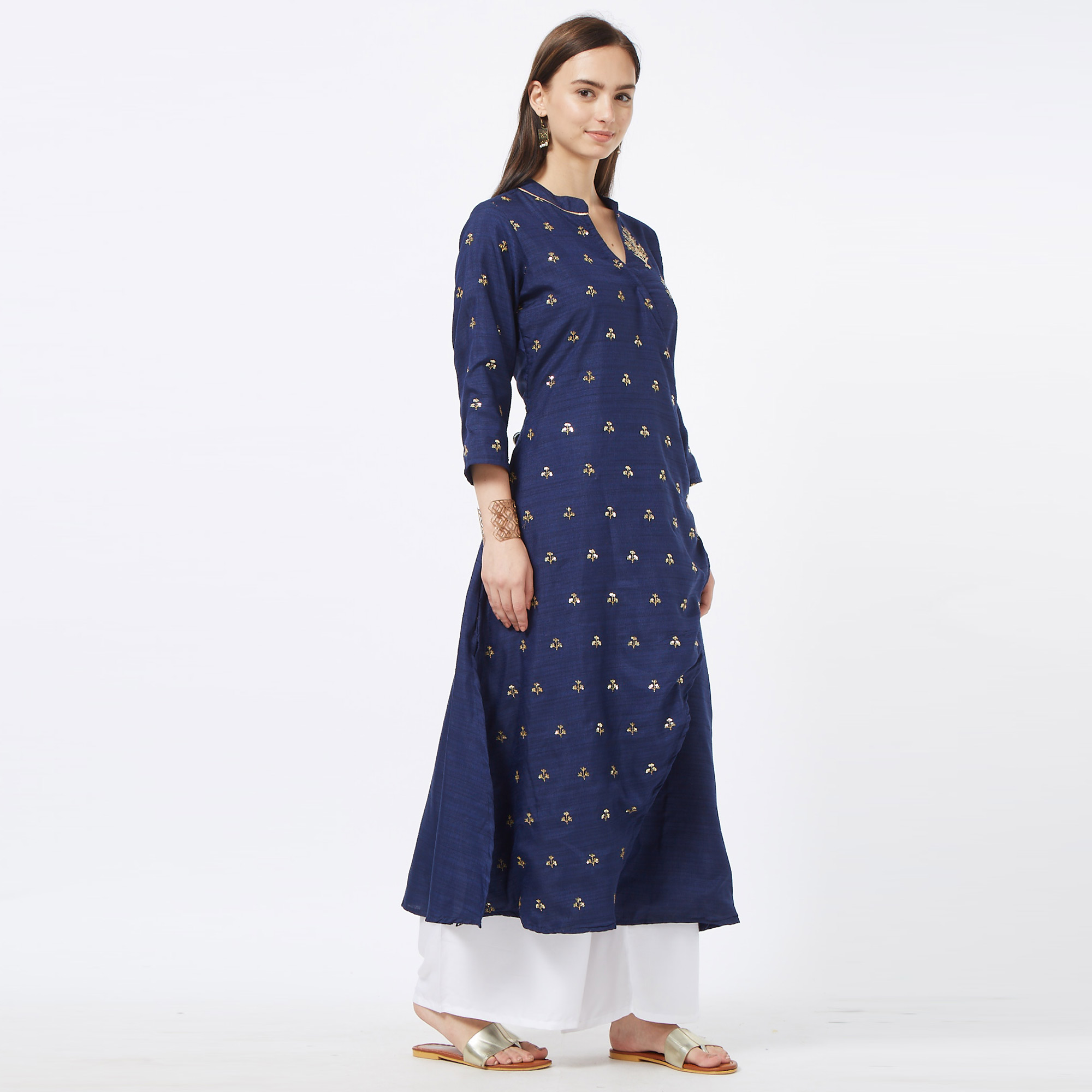 Excellent Navy Blue Colored Partywear Embroidered Cotton Long Kurti
