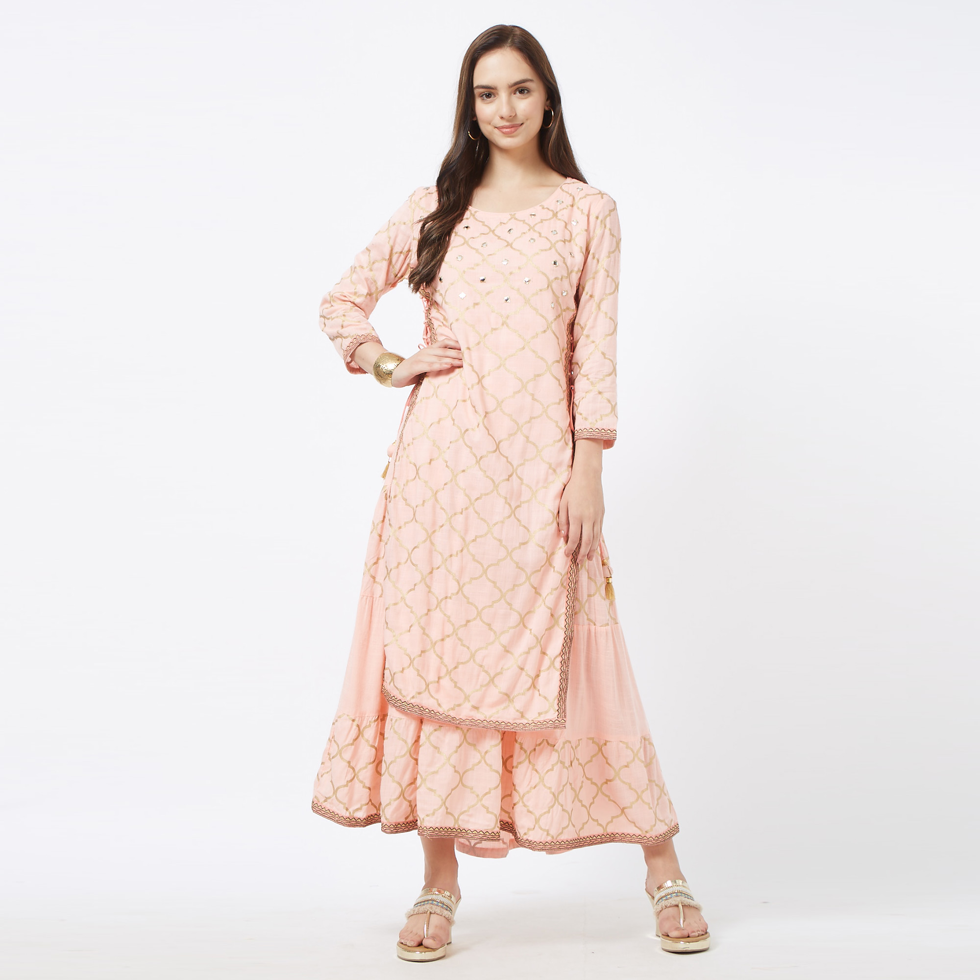 Pretty Pink Colored Partywear Embroidered Cotton Long Kurti