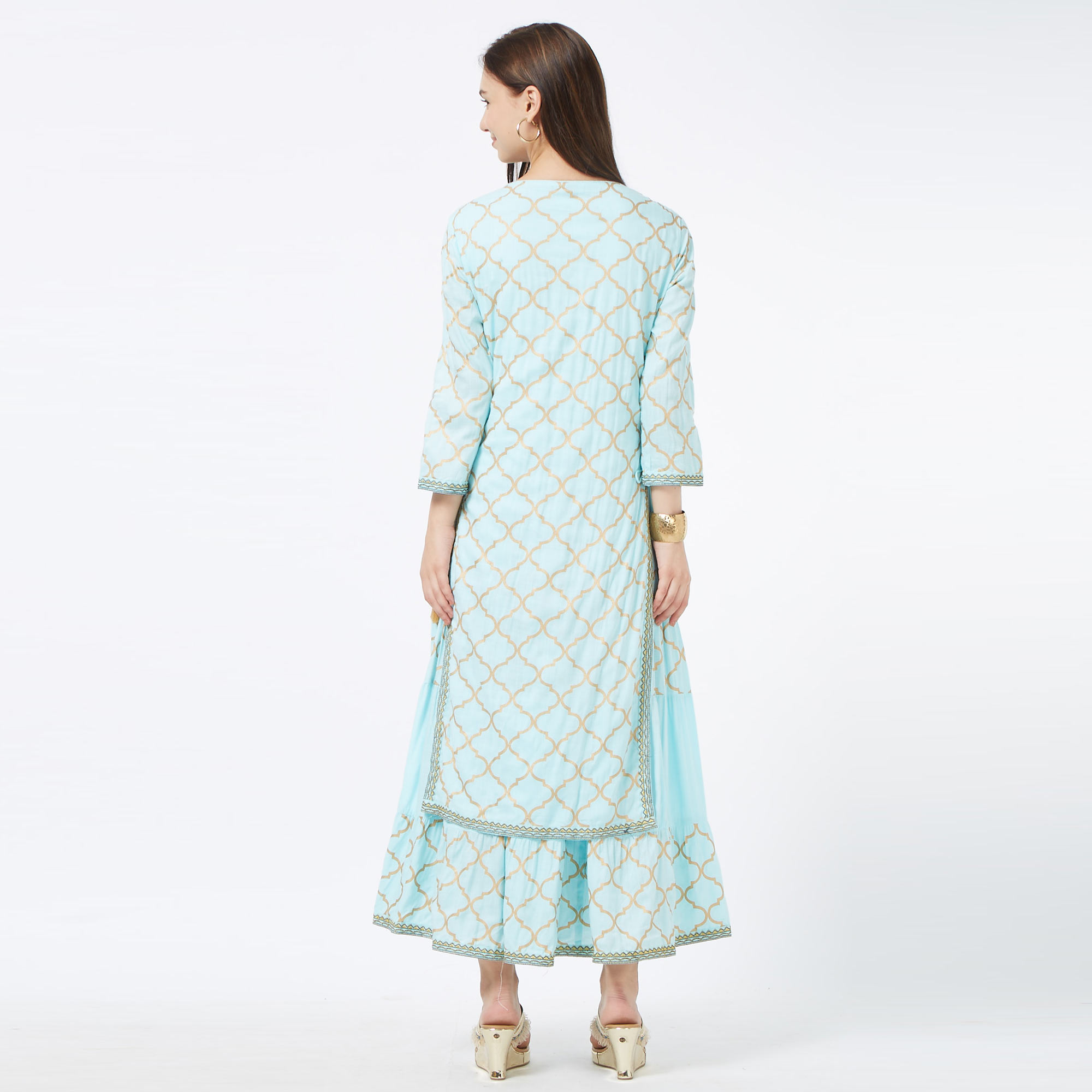 Flaunt Sky Blue Colored Partywear Embroidered Cotton Long Kurti