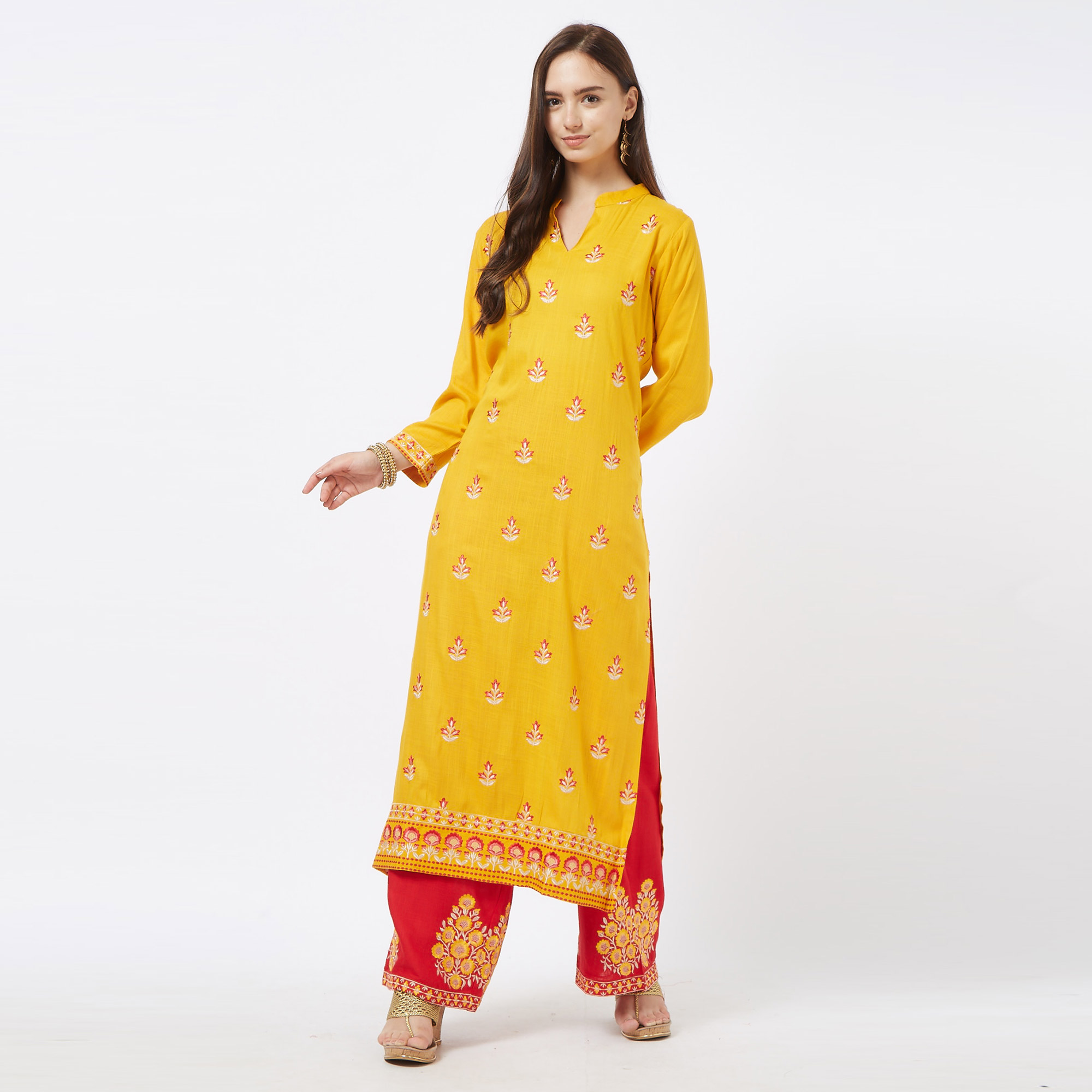 Appealing Yellow-Red Colored Partywear Embroidered Cotton Palazzo Suit