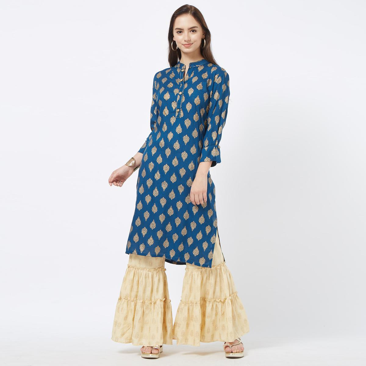 Adorning Blue Colored Partywear Foil Printed Cotton Palazzo Suit