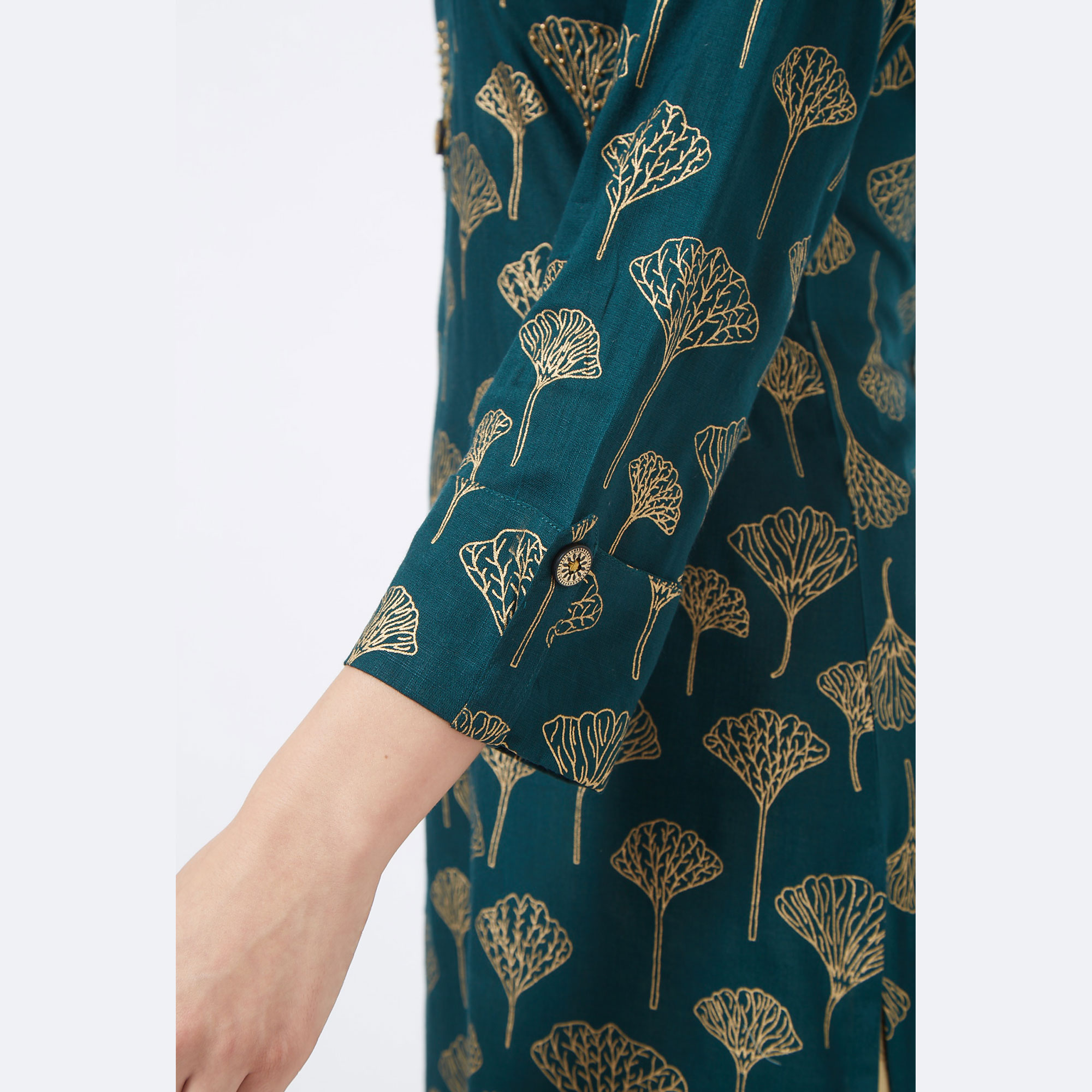 Classy Dark Ocean Green Colored Partywear Foil Printed Cotton Palazzo Suit