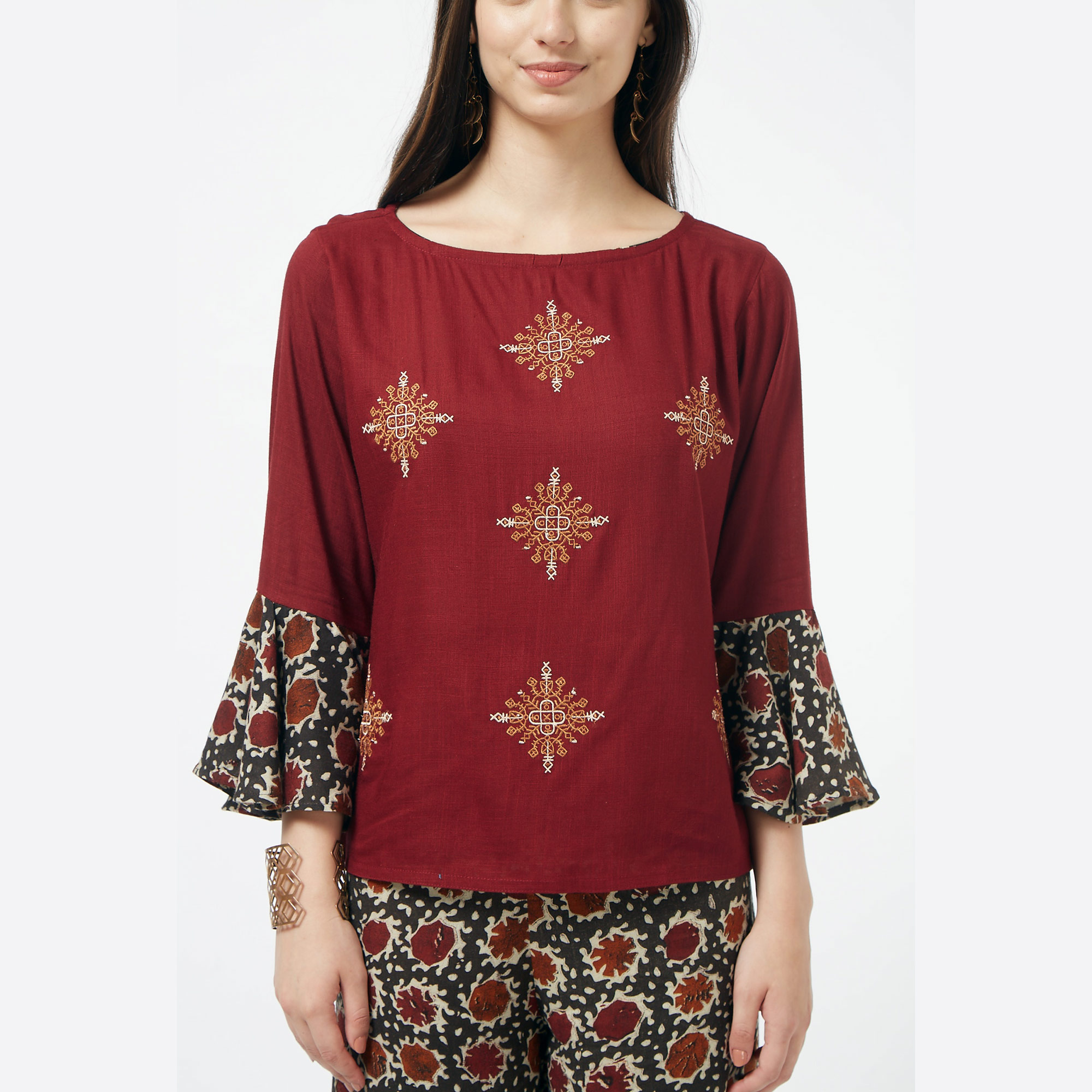 Adorable Maroon Colored Partywear Embroidered Cotton Top & Palazzo Set