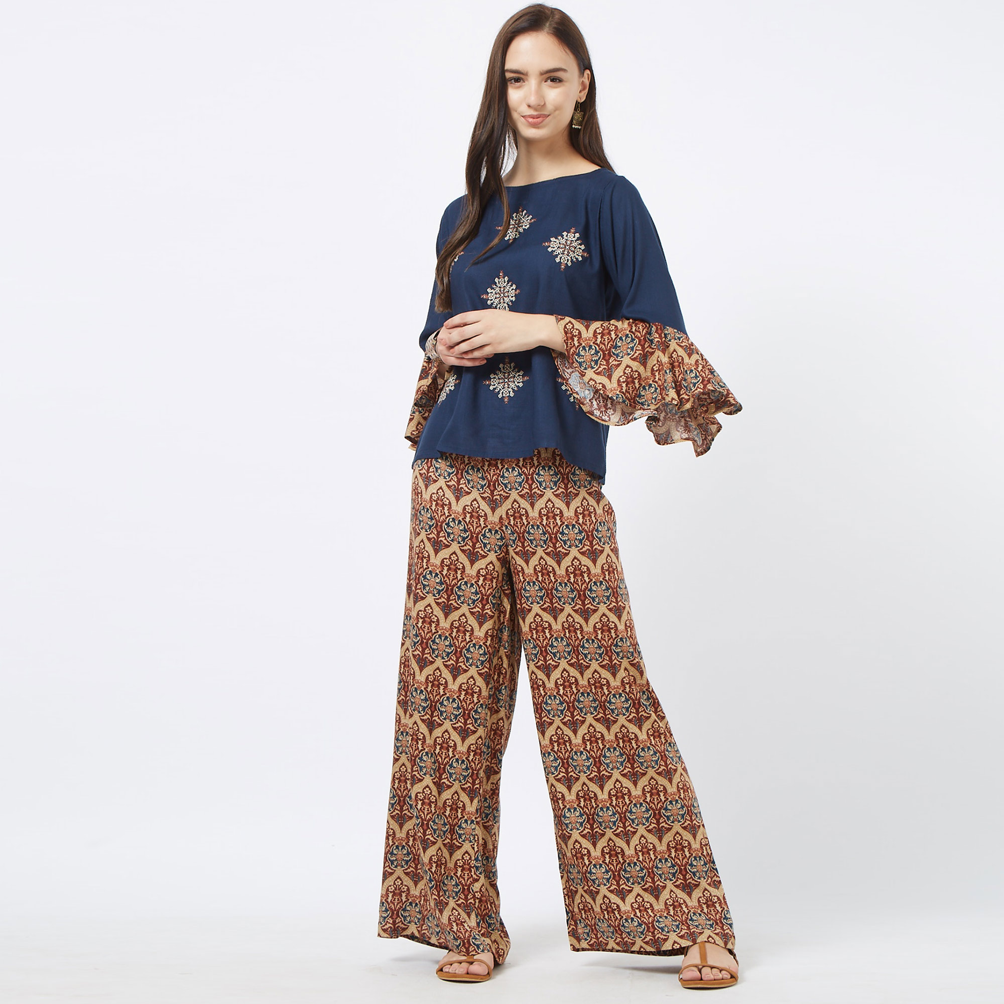 Glorious Navy Blue Colored Partywear Embroidered Cotton Top & Palazzo Set