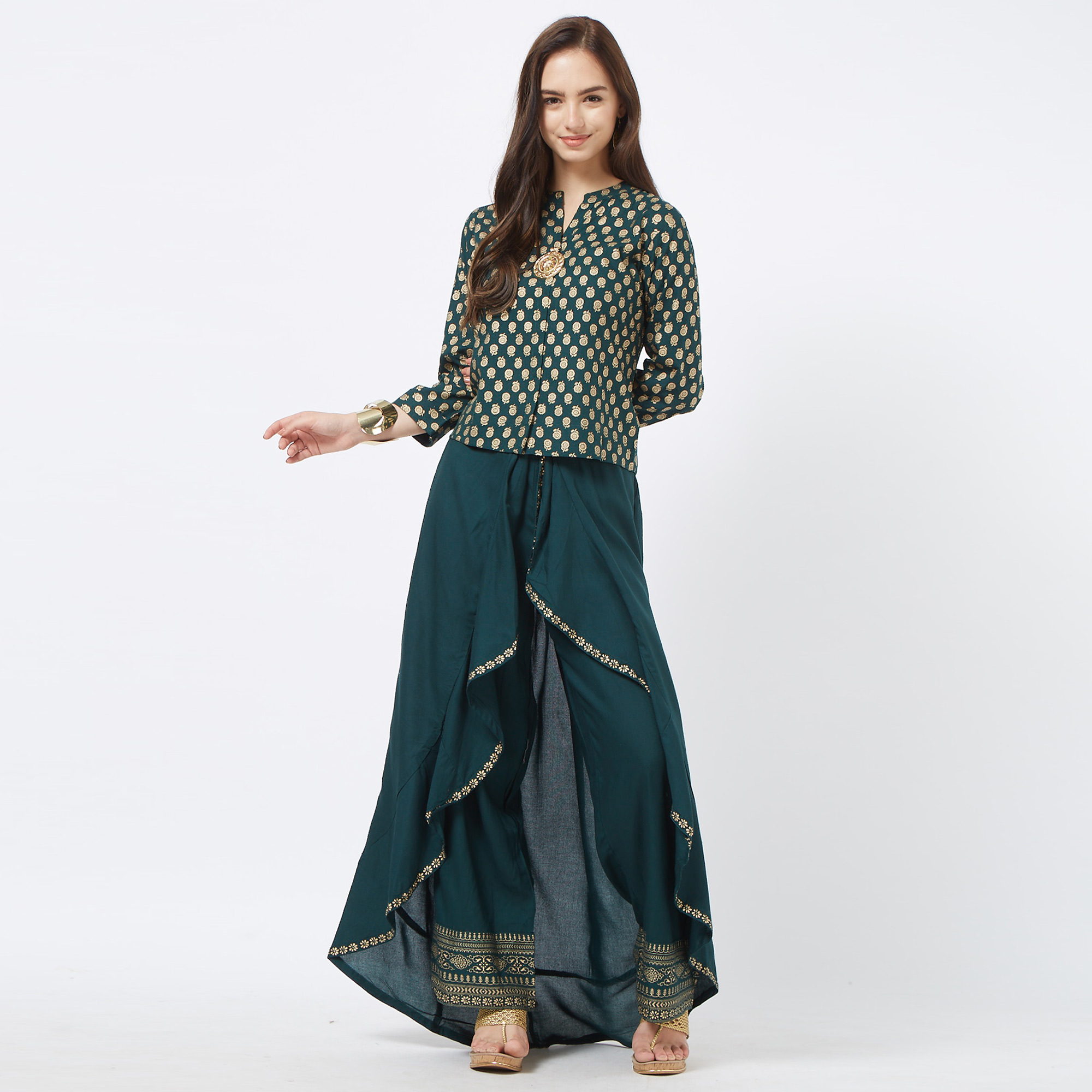 Attractive Dark Ocean Green Colored Partywear Foil Printed Cotton Top & Palazzo Set