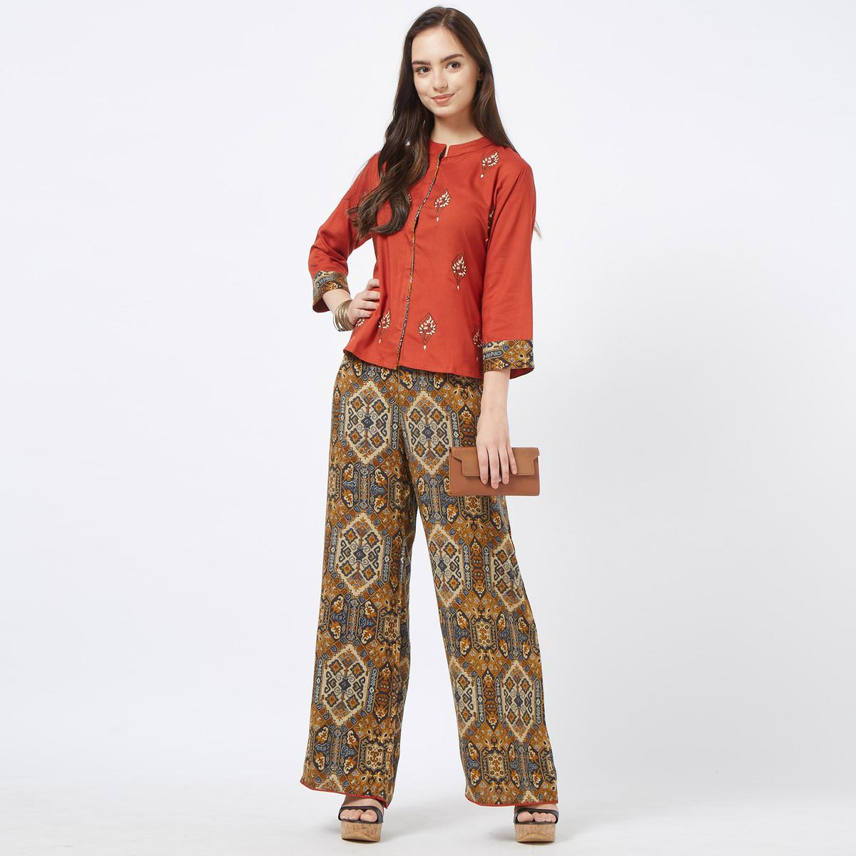 Beautiful Rust Orange Colored Partywear Embroidered Cotton Top & Palazzo Set