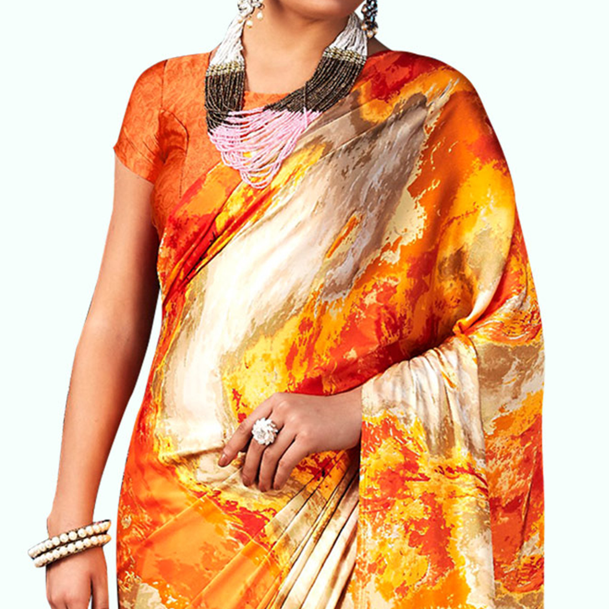 Excellent Orange-Multicolored Casual Wear Digital Printed Satin Saree