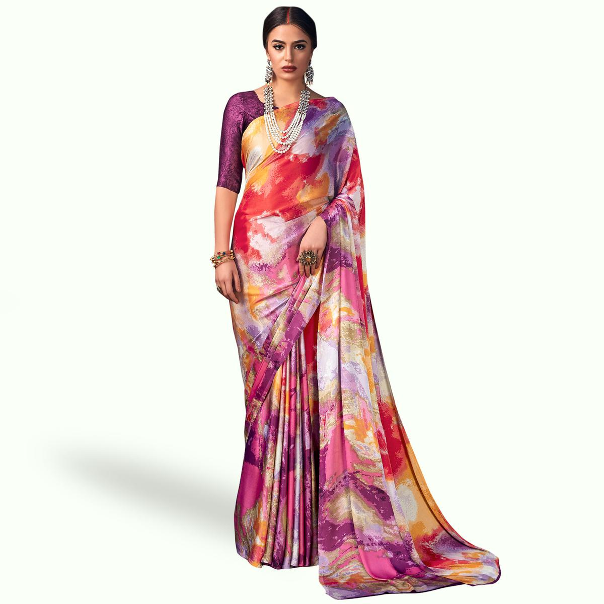 d270a0039e Buy Pretty Multicolored Casual Wear Digital Printed Satin Saree For womens  online India, Best Prices, Reviews - Peachmode