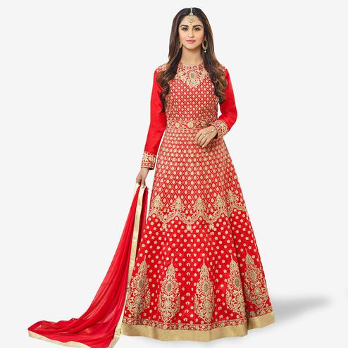Pleasant Red Colored Party Wear Embroidered Tapeta Silk Anarkali Suit