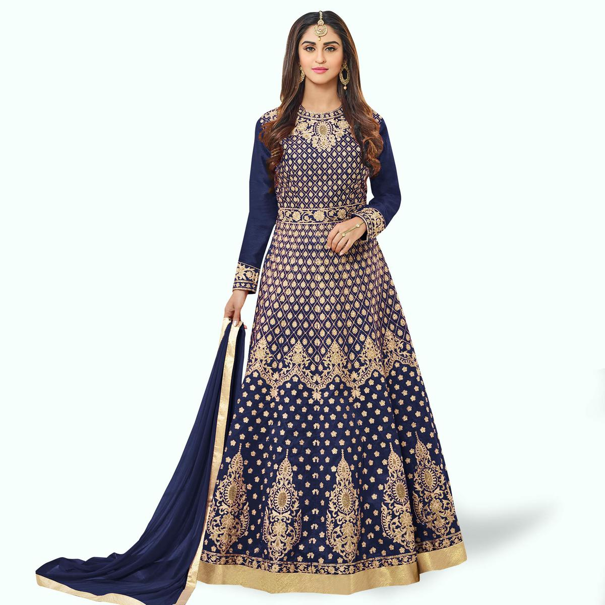 Opulent Navy Blue Colored Party Wear Embroidered Tapeta Silk Anarkali Suit
