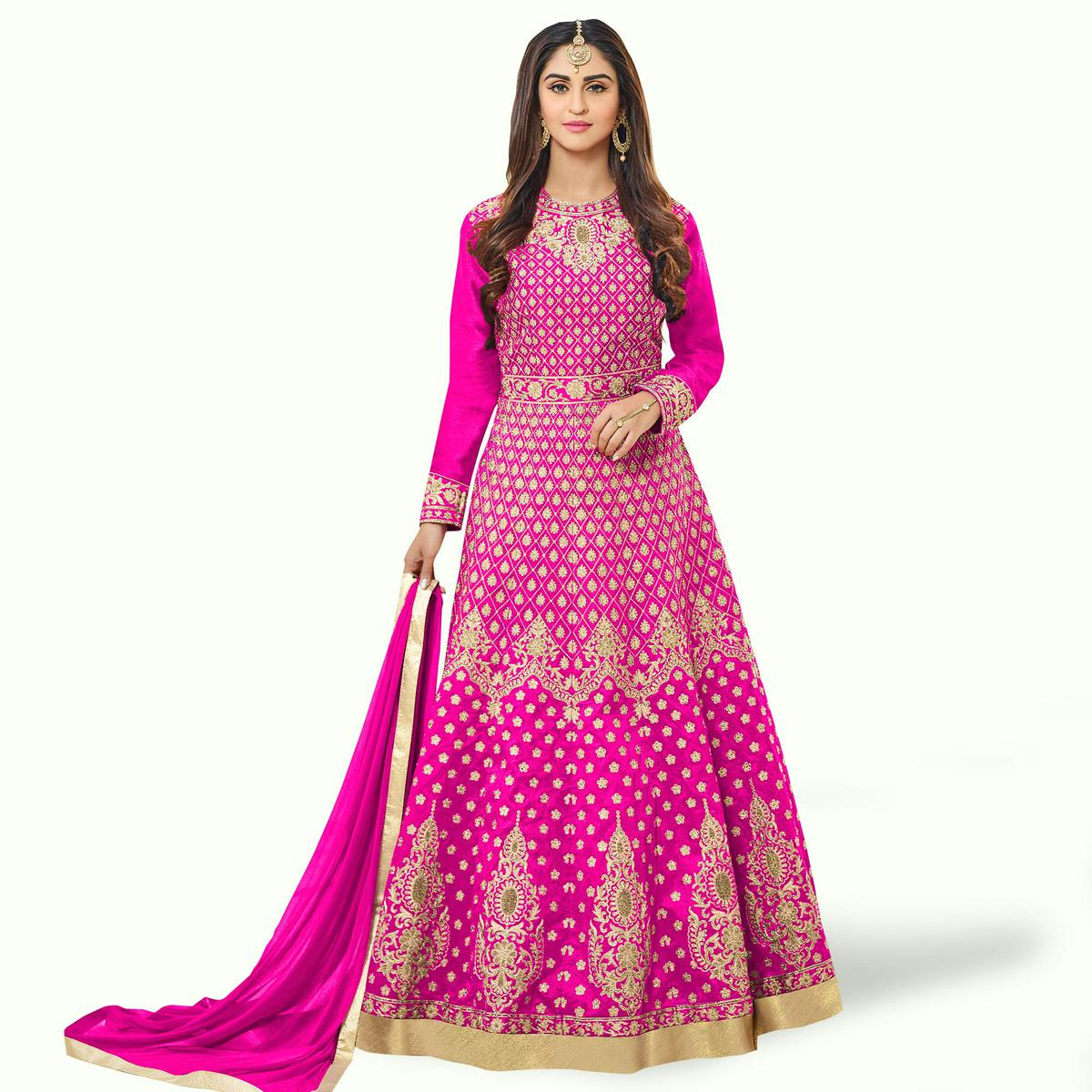 Energetic Fuchsia Pink Colored Party Wear Embroidered Tapeta Silk Anarkali Suit