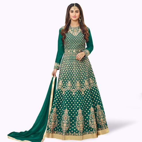 Glowing Green Colored Party Wear Embroidered Tapeta Silk Anarkali Suit