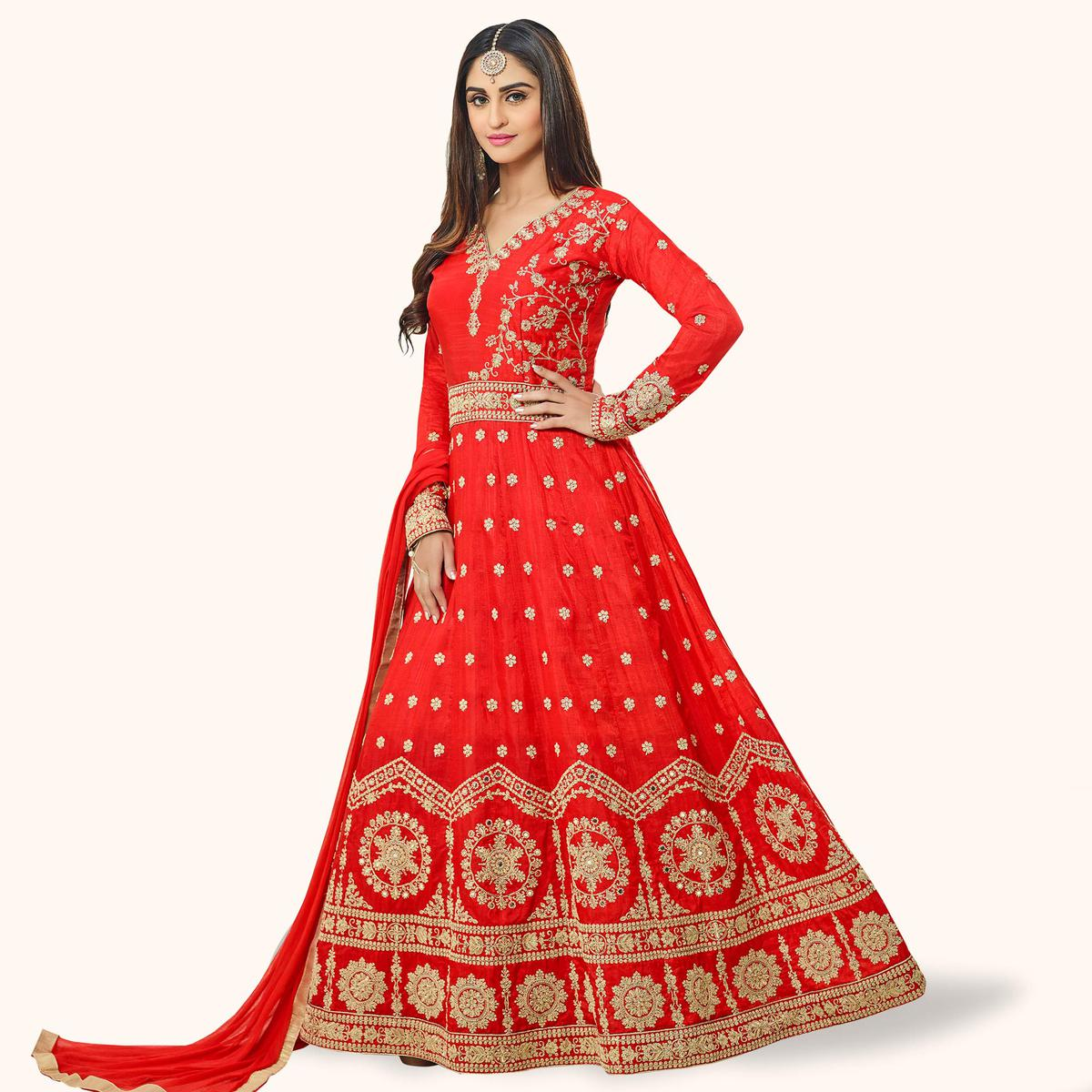Exceptional Red Colored Party Wear Embroidered Art Silk Anarkali Suit