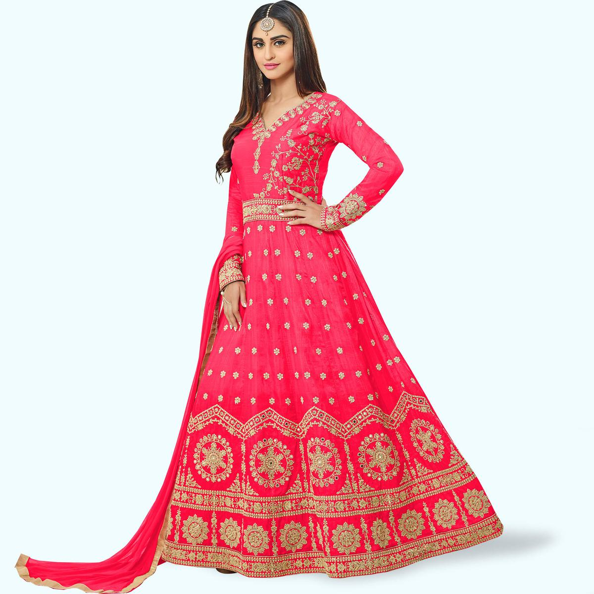 Mesmeric Pink Colored Party Wear Embroidered Art Silk Anarkali Suit