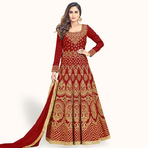Capricious Maroon Colored Partywear Embroidered Banglori Silk Anarkali Suit