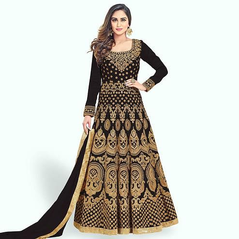 Entrancing Black Colored Partywear Embroidered Banglori Silk Anarkali Suit