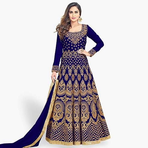 Groovy Royal Blue Colored Partywear Embroidered Banglori Silk Anarkali Suit