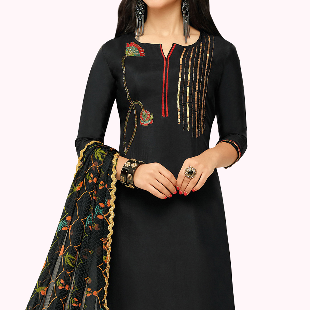 Ideal Black Colored Party Wear Chanderi Silk Salwar Suit