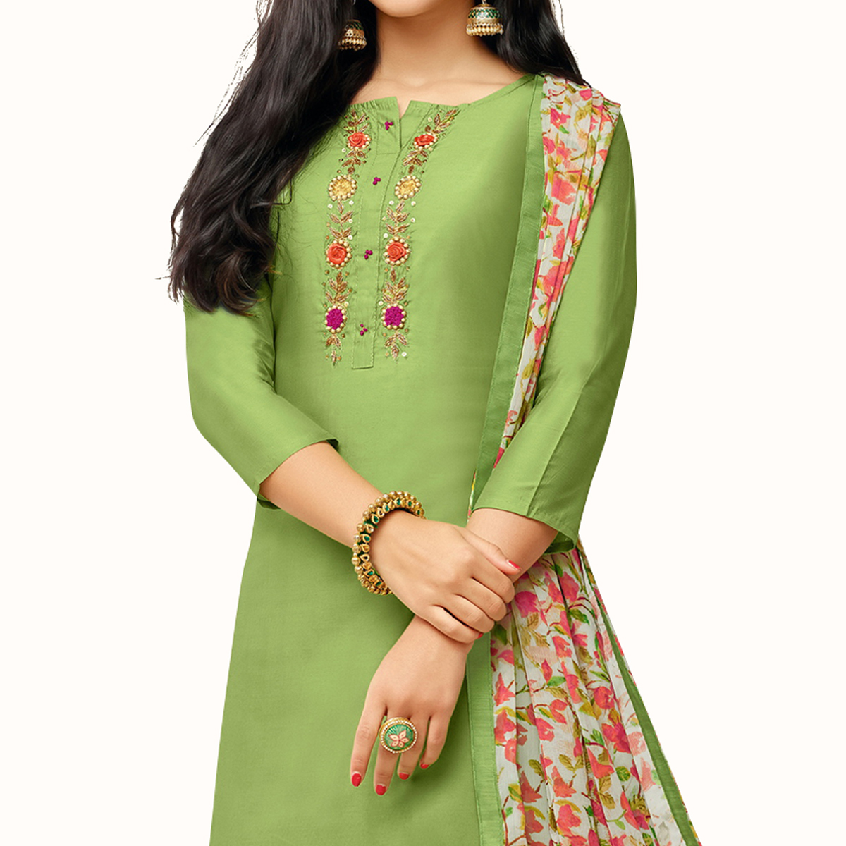 Imposing Green Colored Party Wear Chanderi Silk Salwar Suit