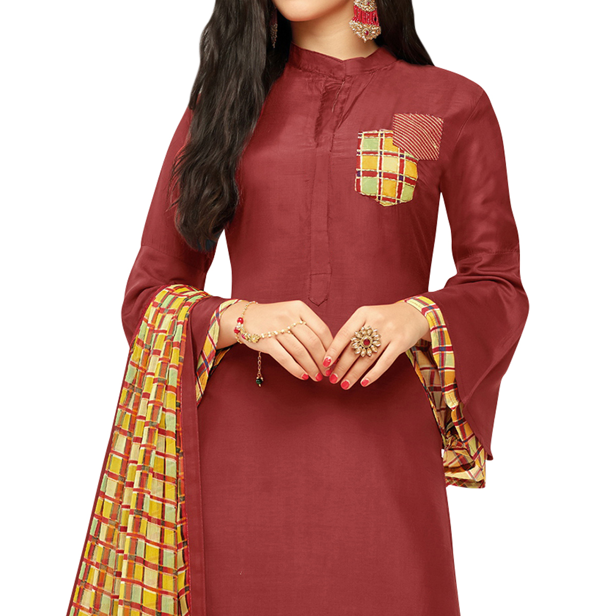 Lovely Maroon Colored Party Wear Chanderi Silk Salwar Suit