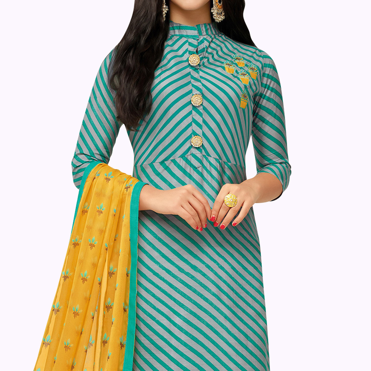 Mesmerising Turquoise Green Colored Party Wear Chanderi Silk Salwar Suit
