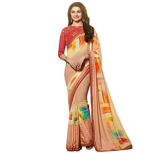 Beautiful Multi Colored Designer Partywear Printed Georgette Saree With Embroidered Blouse