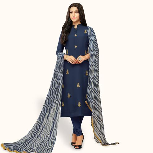 Pleasance Navy Blue Colored Party Wear Chanderi Silk Salwar Suit