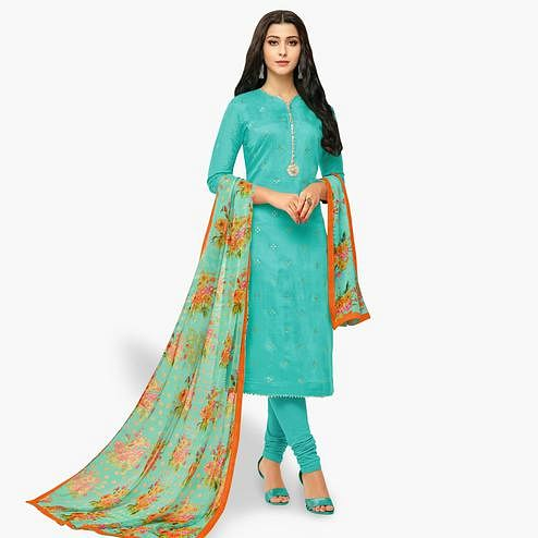 Breathtaking Turquoise Blue Colored Party Wear Chanderi Silk Salwar Suit