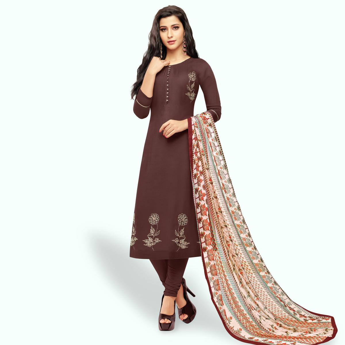 40a095d67ae Buy Ethnic Coffee Brown Colored Party Wear Chanderi Silk Salwar Suit Online  India