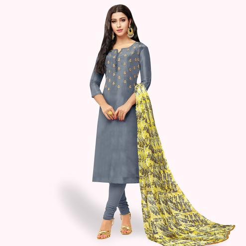 Ravishing Gray Colored Party Wear Chanderi Silk Salwar Suit