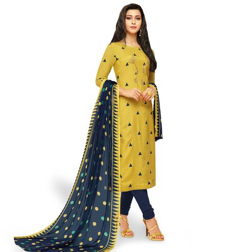 Dazzling Light Golden Yellow Colored Party Wear Chanderi Silk Salwar Suit