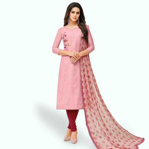 Staring Pink Colored Party Wear Chanderi Silk Salwar Suit